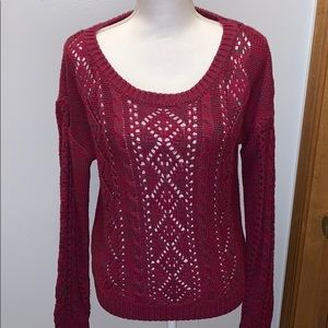 Burgundy w gray flecking cable knit sweater